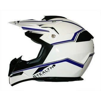 casque moto cross blanc filet bleu taille xl achat. Black Bedroom Furniture Sets. Home Design Ideas