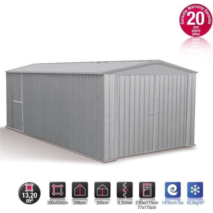 garage m tal gris acier absco 13 20m achat vente garage garage m tal absco 13 20m soldes. Black Bedroom Furniture Sets. Home Design Ideas