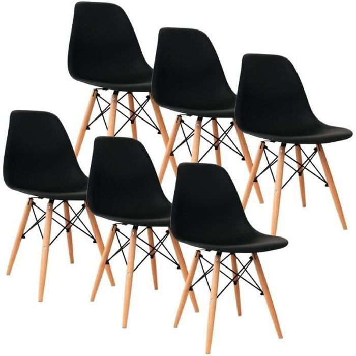 CHAISE Lot De 6 Chaises Design Style DSW