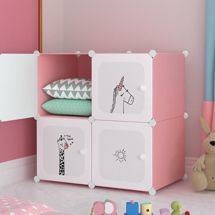 Armoire Chambre Meuble Rangement Enfant 4 Cube Armoire Plastique Cartoon 75x37x75cm Rose Achat Vente Armoire De Chambre Armoire Chambre Meuble Bientot Le Black Friday Cdiscount