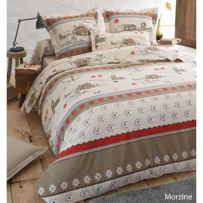 housse de couette morzine imprim s chalet achat vente housse de couette cdiscount. Black Bedroom Furniture Sets. Home Design Ideas