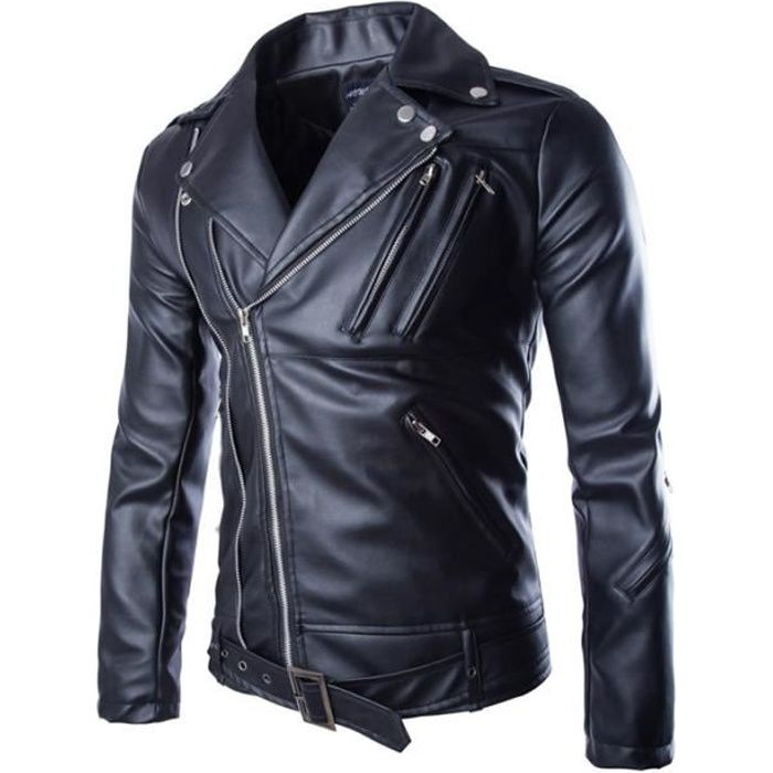 veste blouson cuir homme moto biker jacket moto noir achat vente blouson cdiscount. Black Bedroom Furniture Sets. Home Design Ideas