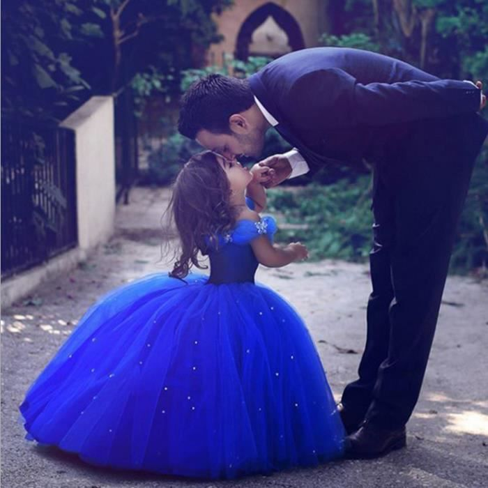 Robes de fille de fleur bleu royal pour le