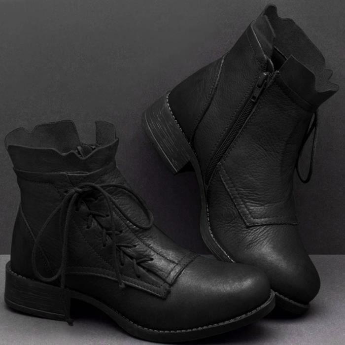 Nouveau Haut Femmes Cuir Synthétique Noir Fermeture Éclair Bottines Loisirs Triple Boucle UK