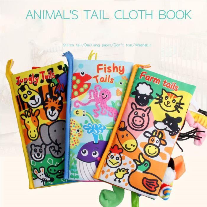 A Tonsee Livre de tissu de livres de jouets de b/éb/é de tissu de queues danimal