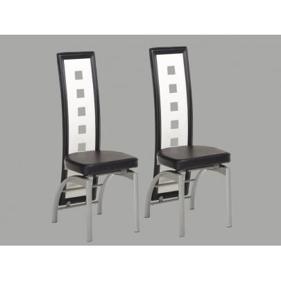 lot de 2 chaises cinema iii pu bicolore noir blanc achat vente chaise cdiscount. Black Bedroom Furniture Sets. Home Design Ideas