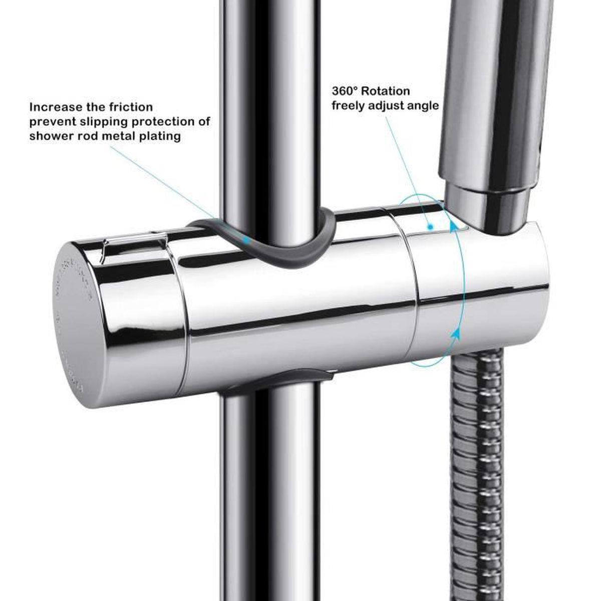 Support de Douche Aoleca 18-25mm ABS Réglable Main Remplacement Ferroviaire...