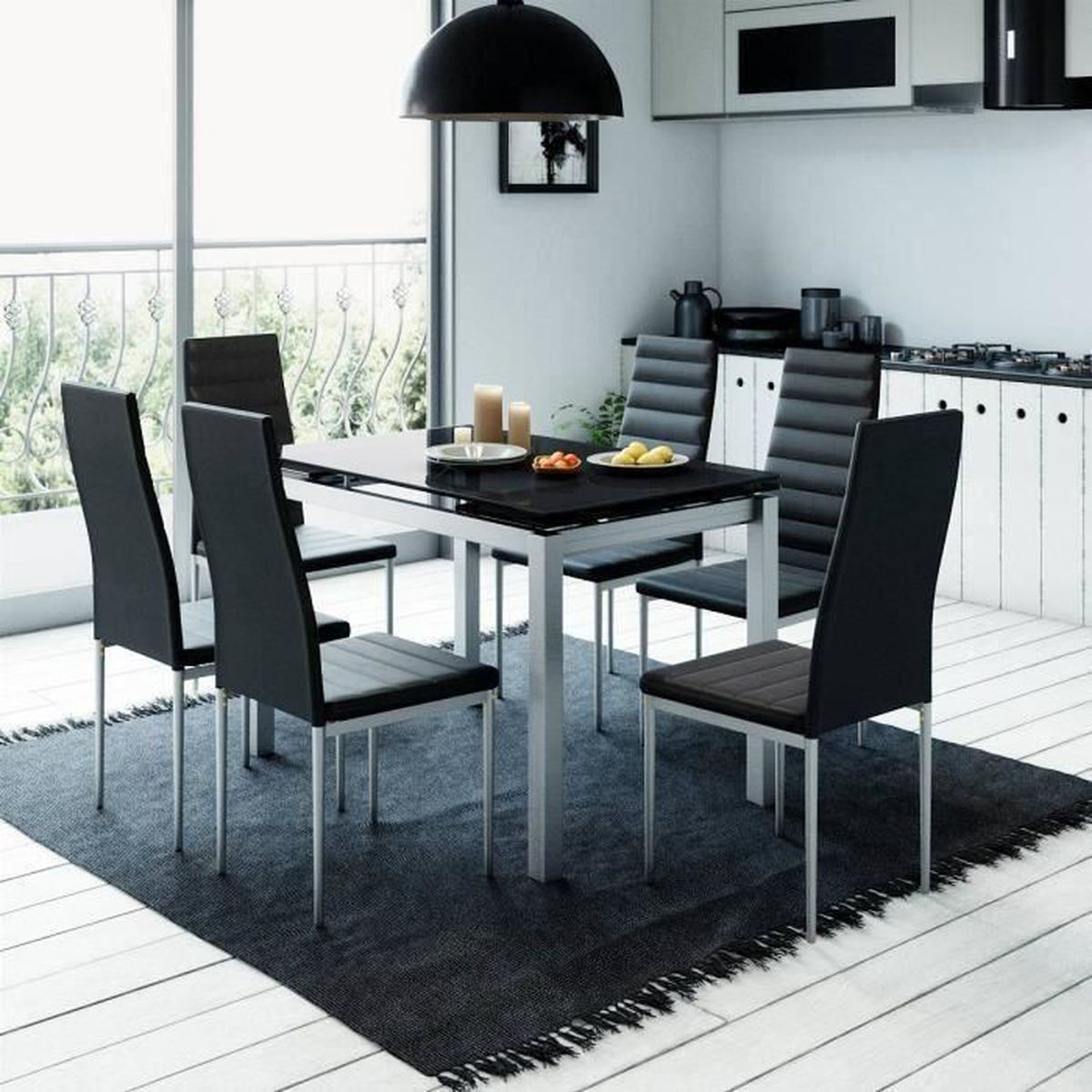 Table extensible noir achat vente table extensible for Table 6 chaises carrefour