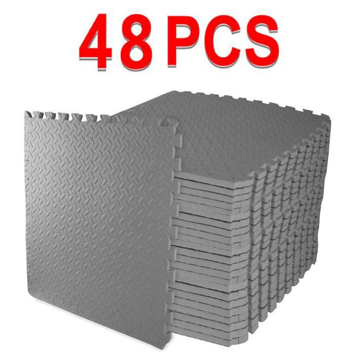 Sol Pour Salle De Sport lot de 48 tapis de sol pour extérieur/intérieur à emboîter réversible pour  salle de sport,exercice,yoga, 192 square feet,gris