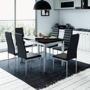 TABLE À MANGER COMPLÈTE TABLE À MANGER EXTENSIBLE + 6 CHAISES NOIR GISBORN