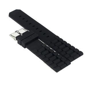MONTRE Mens silicone noir en caoutchouc du bracelet montr
