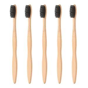 BROSSE A DENTS ROSENICE 5pcs Brosse à dents en bambou Poignée en