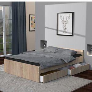 STRUCTURE DE LIT Lit KAPPA 140x200 cm avec tête de lit et 2 tiroirs