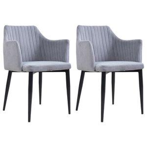 CHAISE Lot de 2 chaises SEGOVIA en tissu gris pour salle