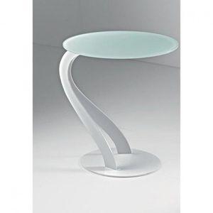 BOUT DE CANAPÉ Bout de canapé TOM design blanc ovale en verre tre