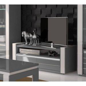 MEUBLE TV Meuble tv LINA gris et blanc brillant + LED. Compo