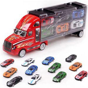 CAMION ENFANT Jouets Camion et 12 Voitures Transporteur Porte-Co