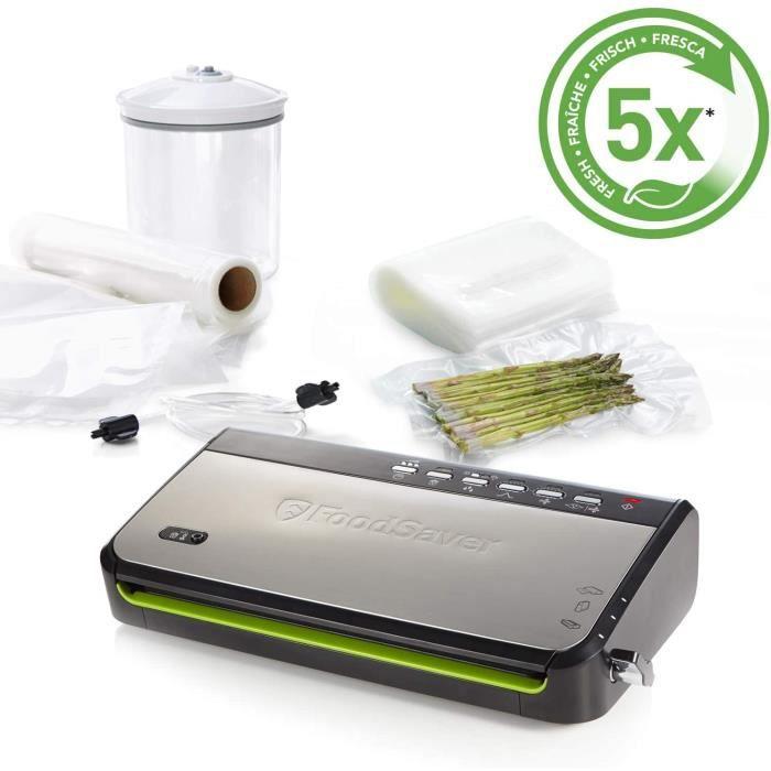 FoodSaver FFS005X Machine sous Vide avec Compartiment de Rangement pour Rouleau et Cutter, Fonction Pulse pour Aliments Fragiles, In