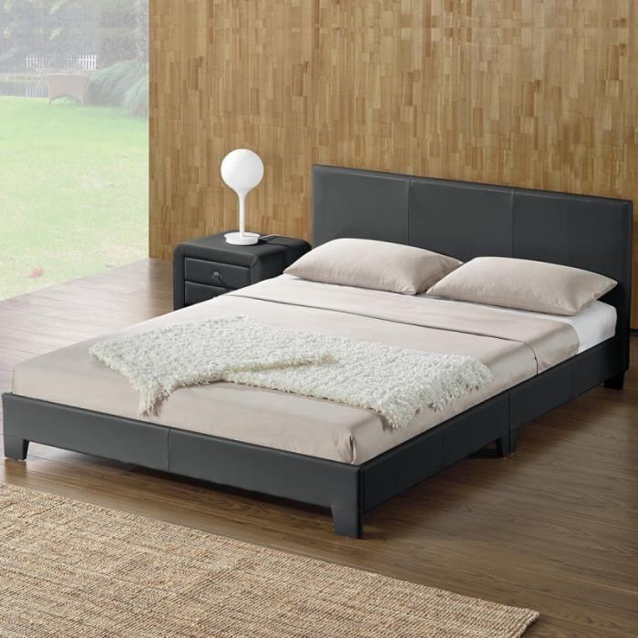 Lit complet + tête de lit + cadre de lit SIMPLI - Gris - 160x200