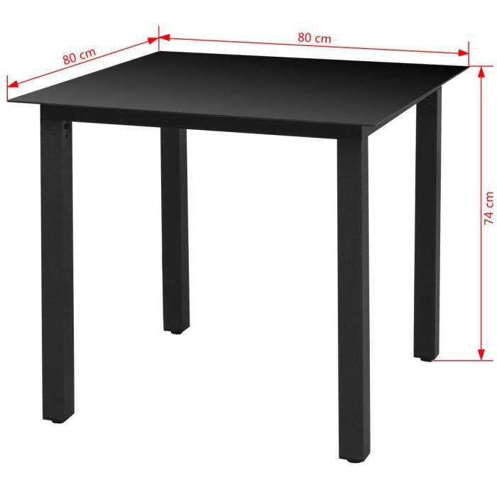 Super -Table de jardin - Table d'appoint Table de reception Noir 80 x 80 x 74 cm Aluminium et verre @230868
