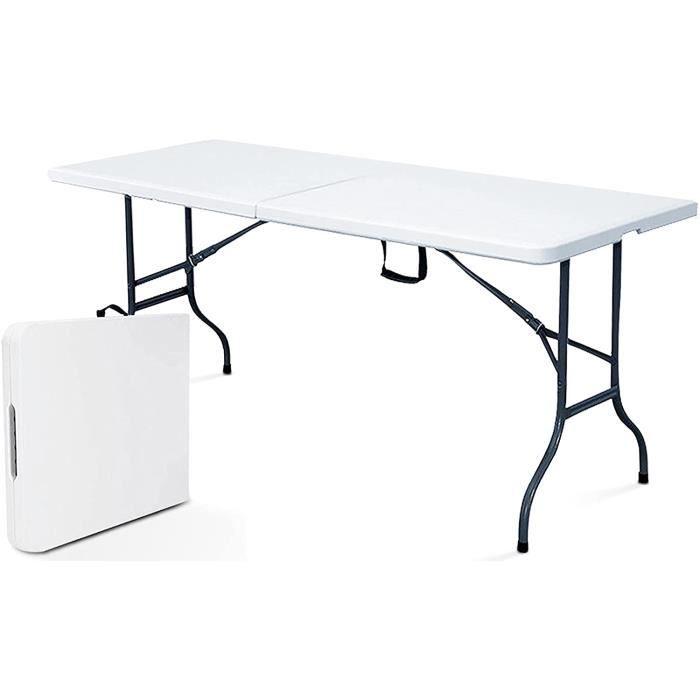 Rekkem Table de Pique Nique Pliante Blanc Rectangulaire 180 x 75 x 74 cm Acier 8 Places,4