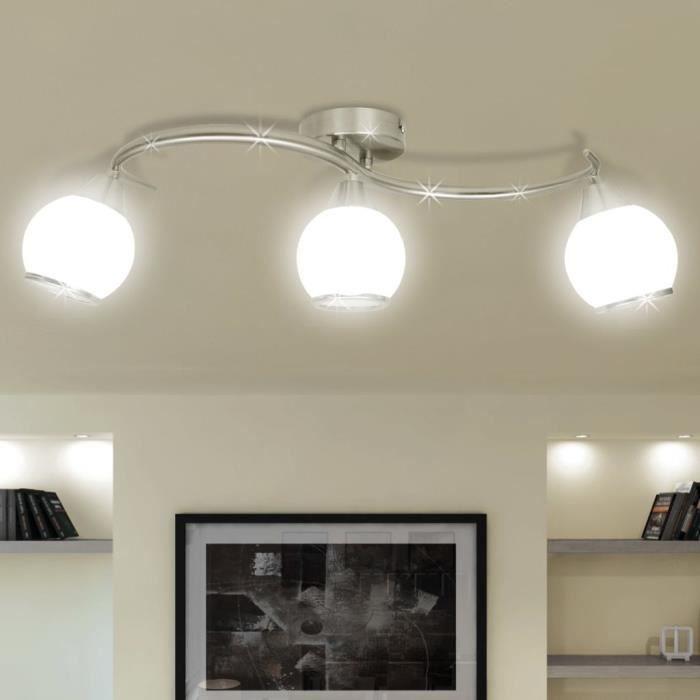 Plafonnier - Lumière Lampe de Plafond Lustre Moderne salon chambre Salle à Manger avec abat-jour en verre et 3 ampoules E14