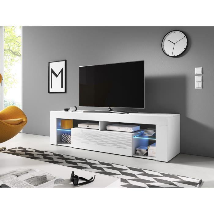 Furnix meuble tv/ banc tv Hugon 140 cm blanc mat/ blanc brillant avec LED