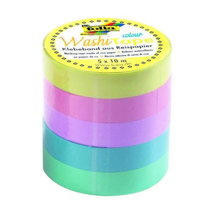 Washi Ruban Décoratif Adhésif - Lot De 5 Cassettes - Des Couleurs Pastel, Des Accessoires De Scrapbooking, Planner, Folia Bringman