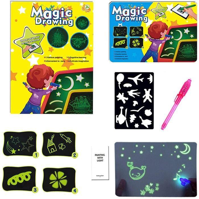 TABLEAU ENFANT Magic Drawing Tablette Lumineuse Enfant Ardoise Magique Pad Portatifs Ardoise Magique Tableaux Agrave Dessin a535