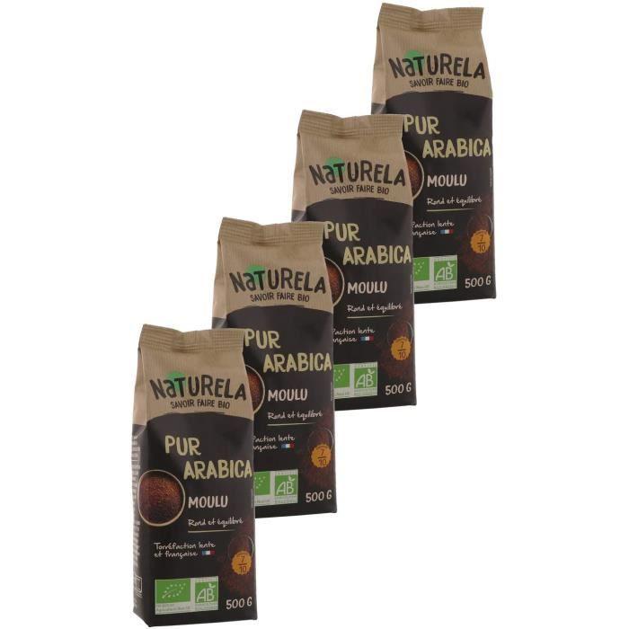 Naturela Café Moulu Bio Pur Arabica - 500 g - Lot de 4