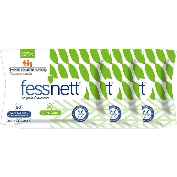 Fess'nett Papier Toilette Humide Pocket Vert Aloe x50 - Formule Testée Dermatologiquement 0% Parabène 0% Phenoxyethanol - Pour Pea