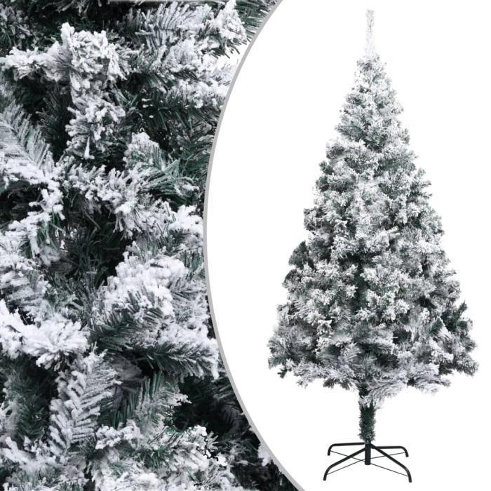 Sapin de Noël artificiel avec neige floquée Vert 240 cm PVC HB055