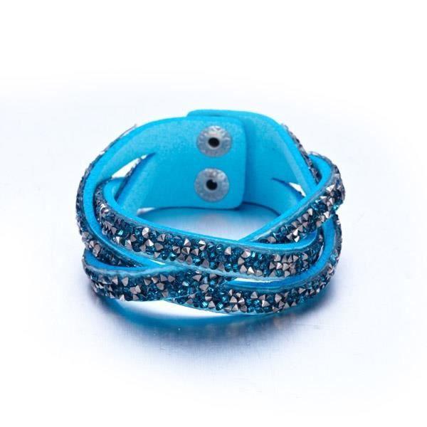 Bracelet Entrelacé Cristaux Turquoises et Argentés de Swarovski Elements et Cuir