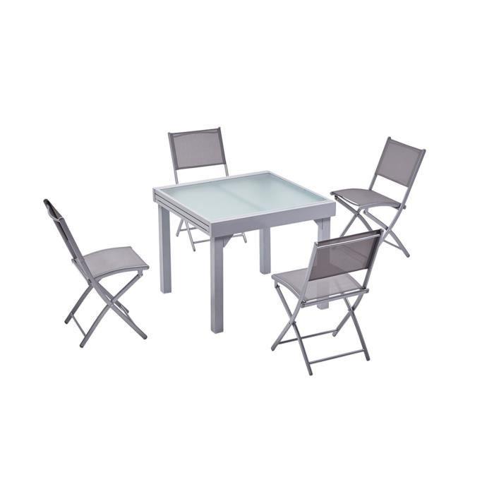 Molvina 4 : table de jardin extensible en aluminium 8 personnes + 4 chaises