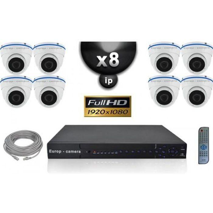 Kit Vidéo Surveillance PRO IP : 8x Caméras POE Dômes IR 20M SONY 1080P + Enregis