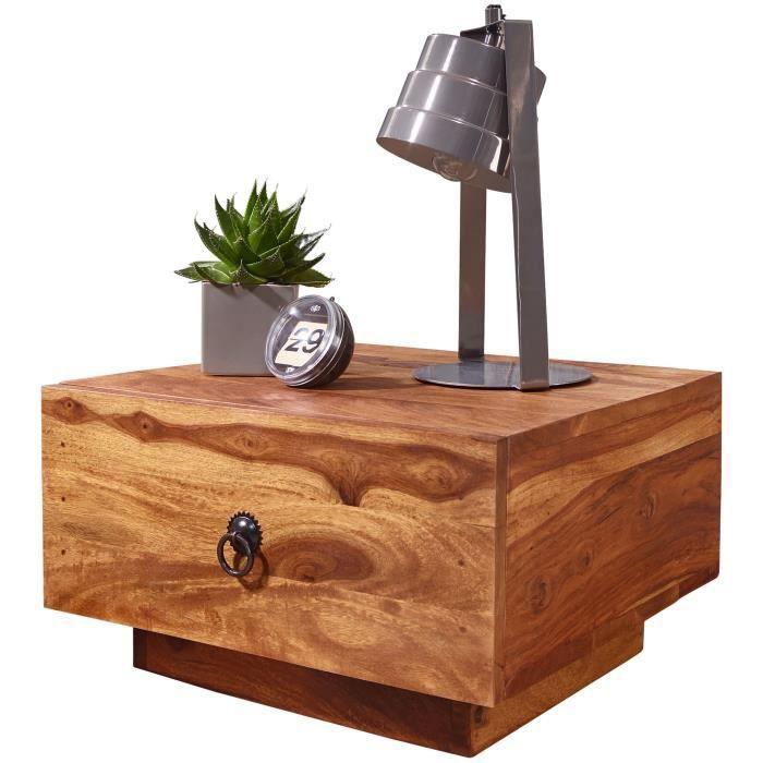 FineBuy Table de chevet Bois Massif 40x25x40 cm Table de nuit Table d'appoint [Sheesham]