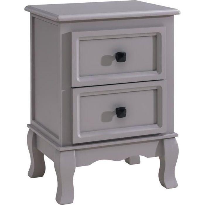 Table de chevet ELEGANTE petite commode de nuit avec 2 tiroirs style shabby chic baroque moderne, en bois de paulownia brun clair