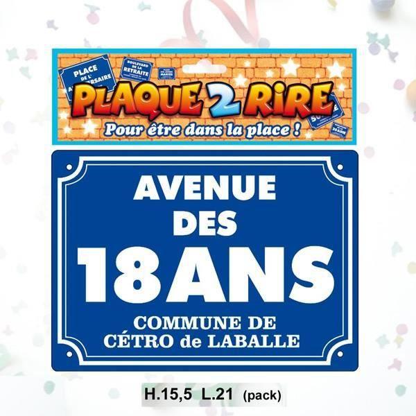 PLAQUE DE RUE 18 ANS