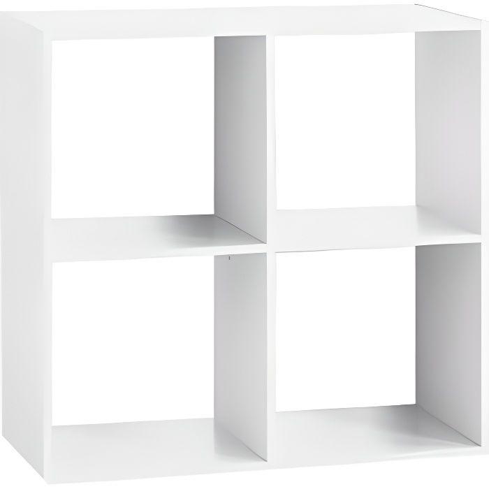 Étagère bois 4 cases blanc Autres Blanc