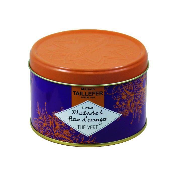 MAISON TAILLEFER Thé vert et fleur d'oranger - Saveur Rhubarbe - Boîte de 80 g