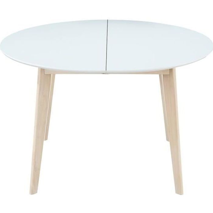 Miliboo - Table à manger design ronde extensible blanc et bois L120-150 LEENA