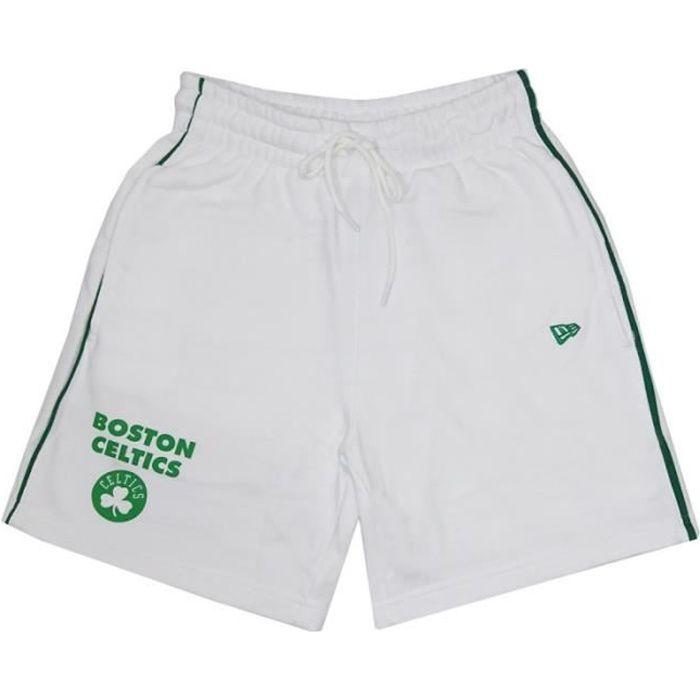 Short NBA Boston Celtics New Era Stripe Piping Blanc pour homme