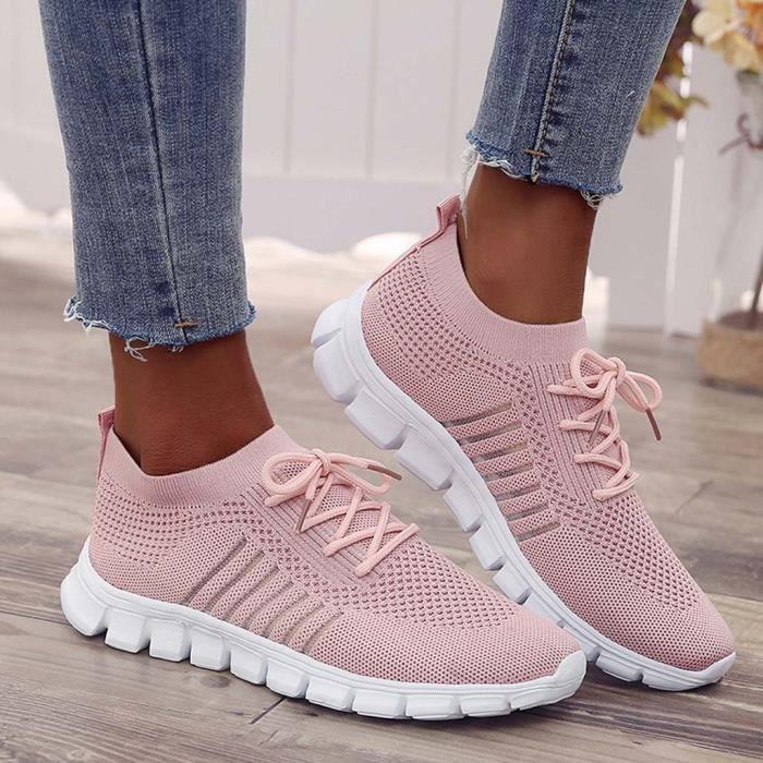 Sneakers Casual étudiants Chaussures de course tissage volants Chaussettes Chaussures femme Rose