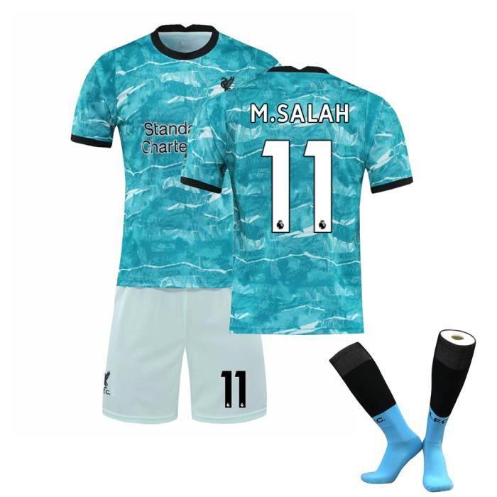 Premier League Liverpool 20-21 NO.11 M.SALAH Jersey Maillots Foot et Shorts de Football+ Chaussettes Enfant-Bleu