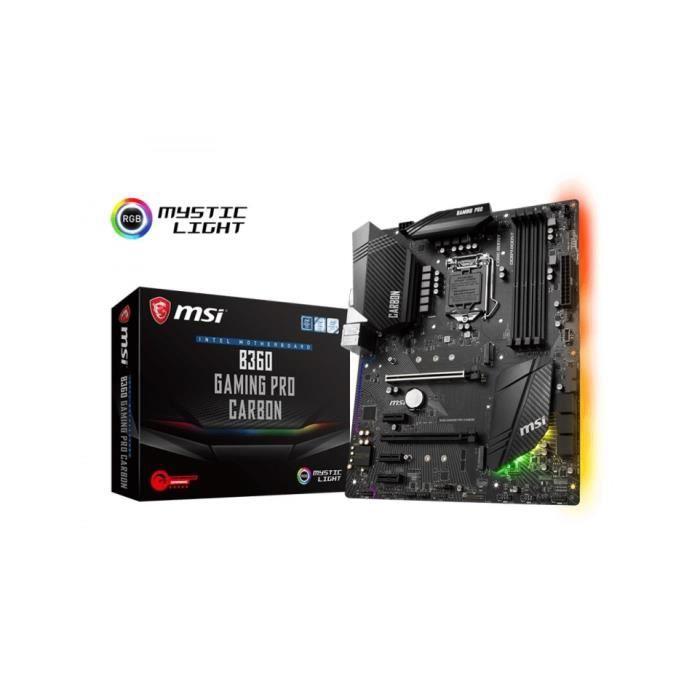 Msi B360 Gaming Pro Carbon Carte mère Atx Socket 1151 Intel B360 Express 4x Ddr4 Sata 6Gb/S + M.2 Usb 3.1 2x Pci Express