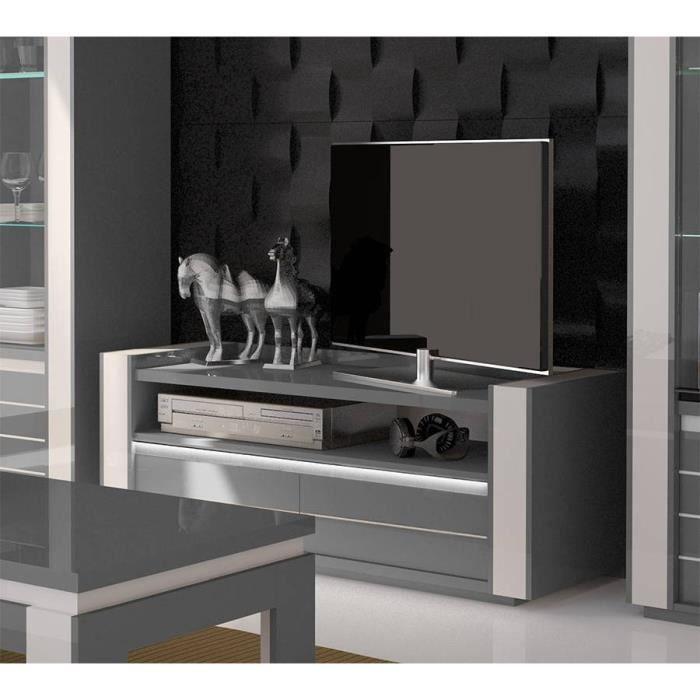Meuble tv LINA gris et blanc brillant + LED. Composé de deux tiroirs et deux niches. Design et moderne 52 Gris