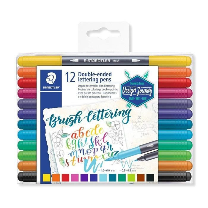 Staedtler Brush Letter Duo, Feutres de coloriage à double pointe pour lettrage au pinceau, Pointe pinceau 1-6 mm et pointe fine