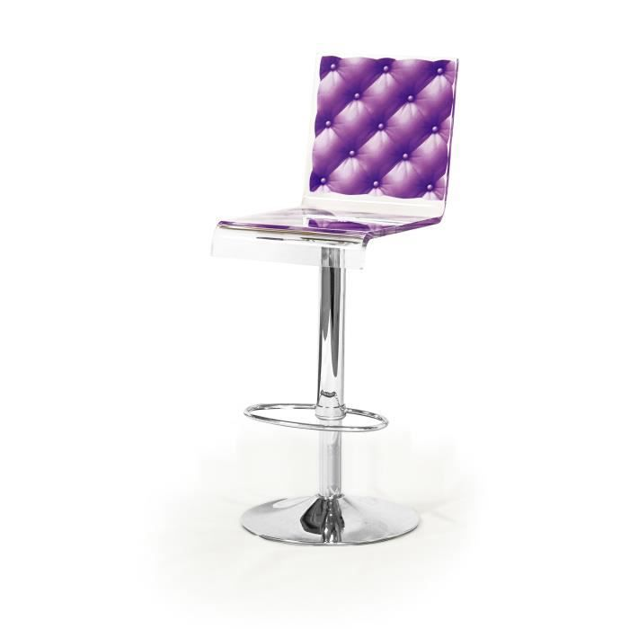 acrila tabouret de bar capiton violet achat vente. Black Bedroom Furniture Sets. Home Design Ideas