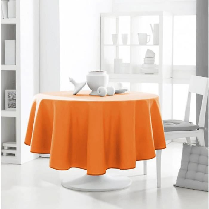 nappe anti tache ronde 180cm polyester design actuel mandarine achat vente nappe de table. Black Bedroom Furniture Sets. Home Design Ideas