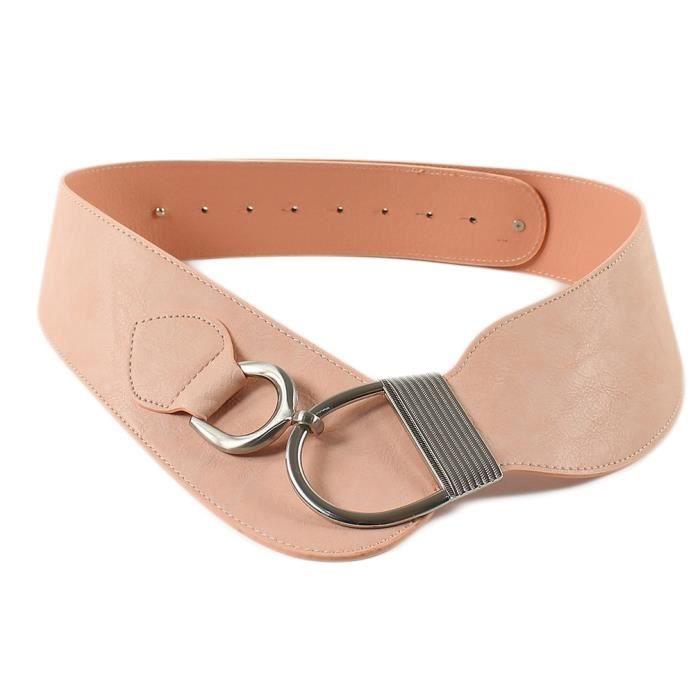 Les Femmes en Métal Doré crochet Boucle élastique ceinture rose pastel saumon grande taille L XL XXL
